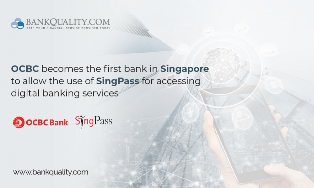 OCBC becomes the first bank in Singapore to allow the use of SingPass for accessing digital banking services